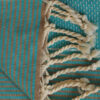 fouta tunisienne turquoise rayee lisere petite detail