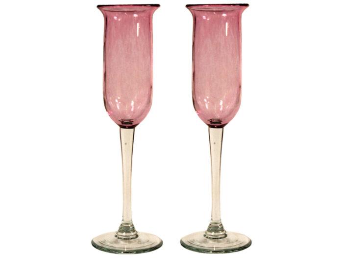 flutes a champagne artisanales en verre souffle rose 1