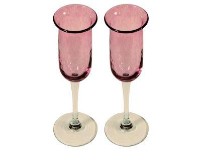 flutes a champagne originales en verre souffle rose 1