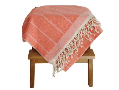 fouta tunisienne orange vif unie 2