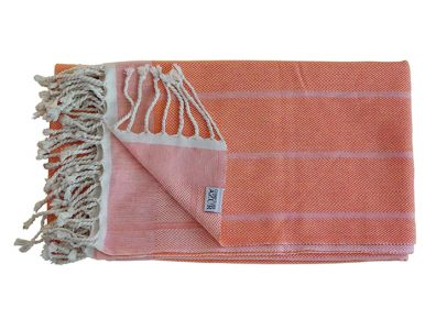 fouta tunisienne orange vif unie