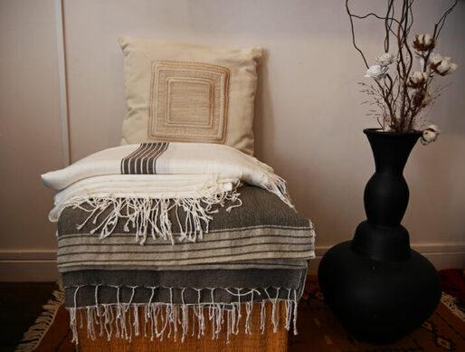 jeté de lit en coton fait main