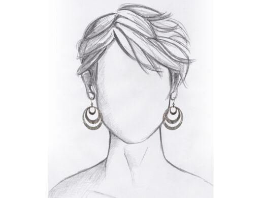 boucle oreille creole cuivre martele mannequin