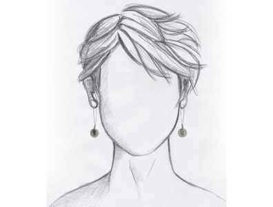 boucles oreilles pendantes en nacre pendentif argente mannequin