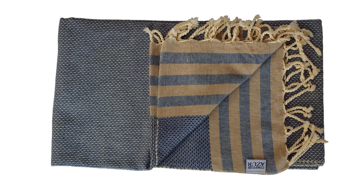 fouta bleue ray e beige produit artisanal. Black Bedroom Furniture Sets. Home Design Ideas
