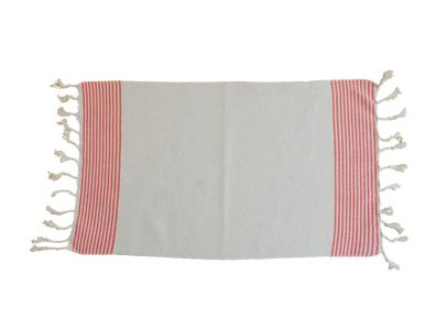 fouta set de table ecru raye orange