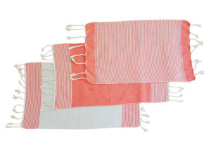 fouta set de table orange trio