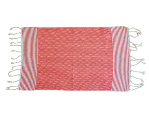 fouta set de table orange raye ecru