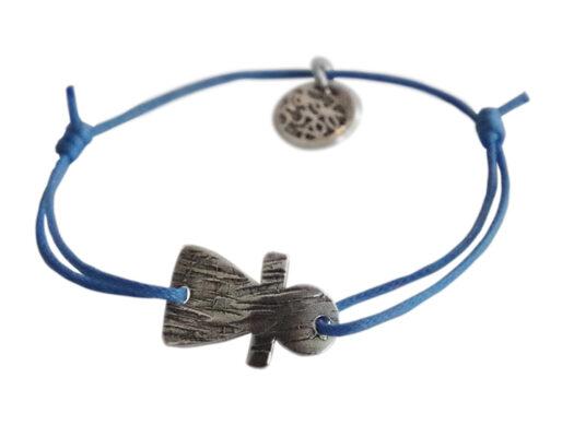 bracelet sur cordon bleu petit tanit argente