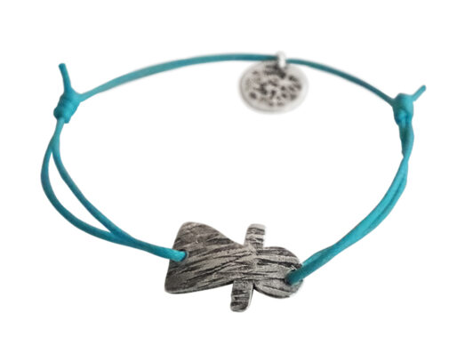 bracelet sur cordon turquoise petit tanit argente