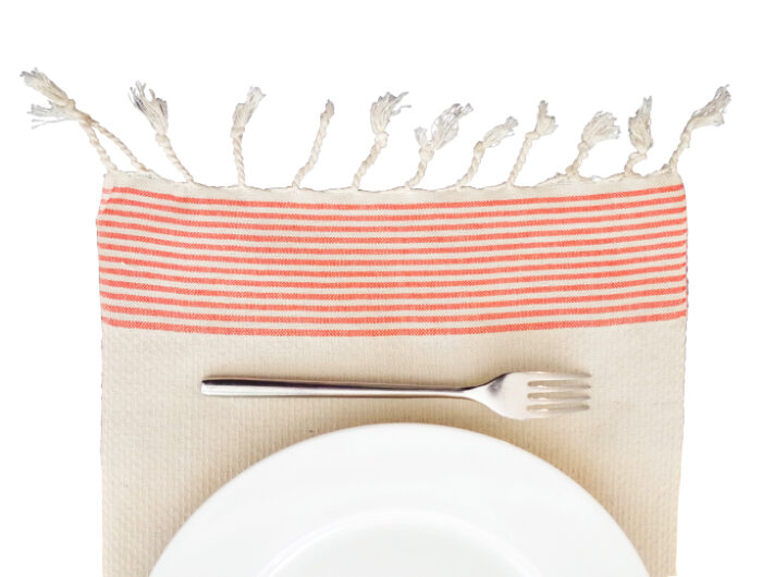 fouta set de table ecru raye orange assiette 02