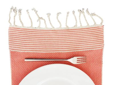 fouta set de table orange raye ecru assiette 02