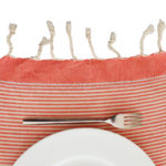 fouta set de table rayures ecru orange assiette 02
