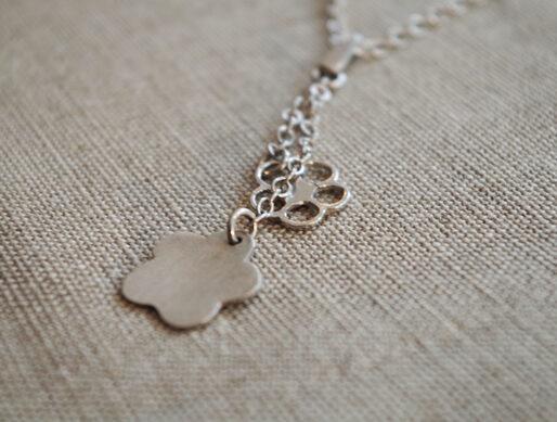collier fin argent pendentif fleurs