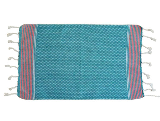 fouta serviette invite bleu raye fin orange plat