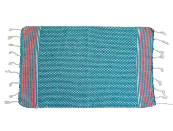 fouta serviette invite bleu raye fin orange plat