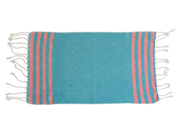 fouta serviette invite bleu raye large orange plat