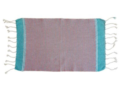 fouta serviette invite rayures bleu orange plat
