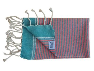 fouta serviette invite rayures bleu orange plie