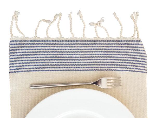 fouta set de table blanc raye bleu 02