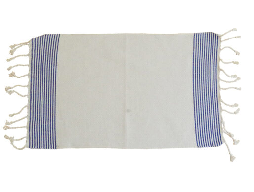 fouta set de table blanc raye bleu