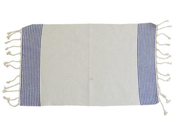 fouta set de table blanc raye bleu