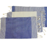 fouta set de table bleu blanc trio
