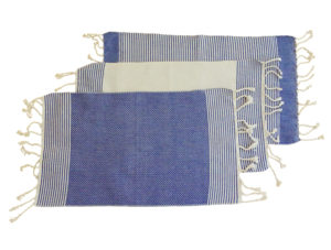fouta set de table bleu ivoire trio