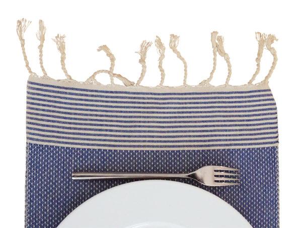 fouta set de table bleu raye blanc 02