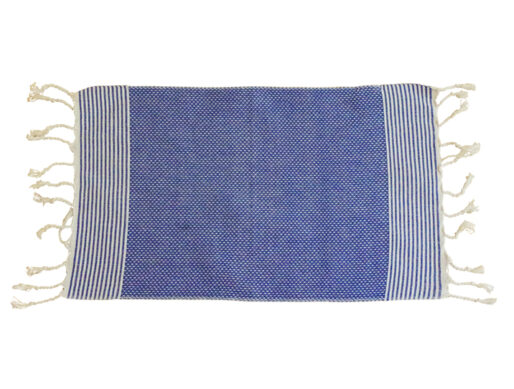 fouta set de table bleu raye blanc