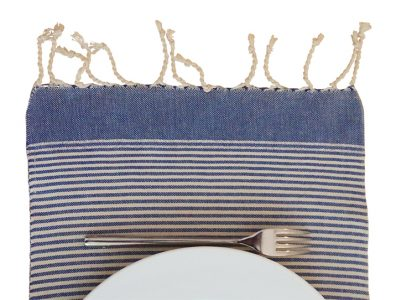 fouta set de table rayures bleu blanc 02