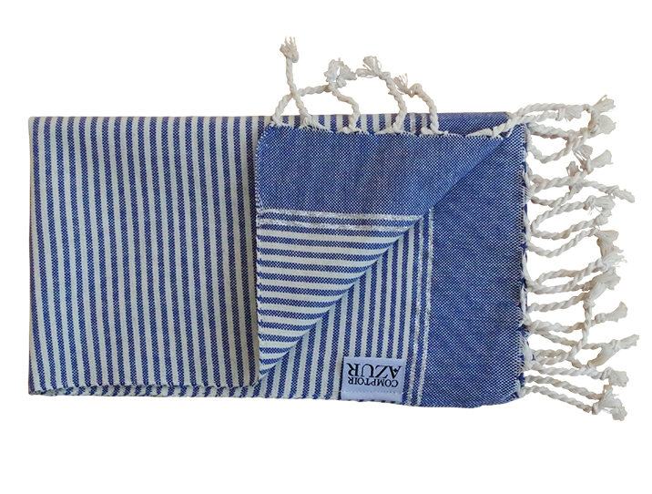 Fouta set de table ray es bleu et cru produit d for Set de table bleu