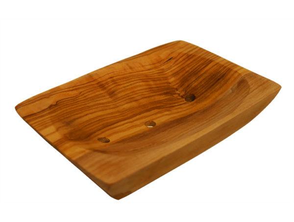 porte-savon bois olivier rectangulaire dessus 2