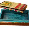 boite de rangement decorative bois peint main marron ouverte