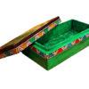 boite de rangement decorative bois peint main vert ouverte
