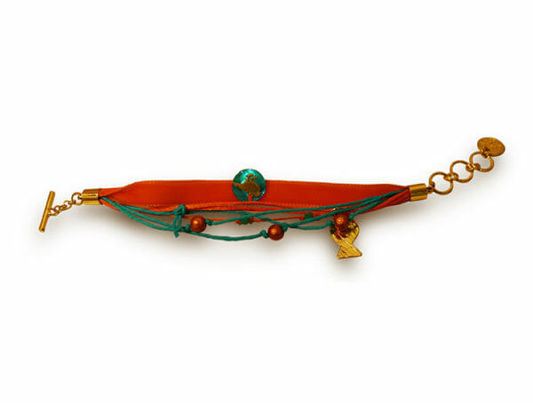 bracelet ruban bleu orange poisson dore