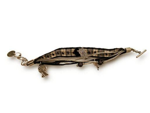 bracelet ruban noir blanc poisson argente