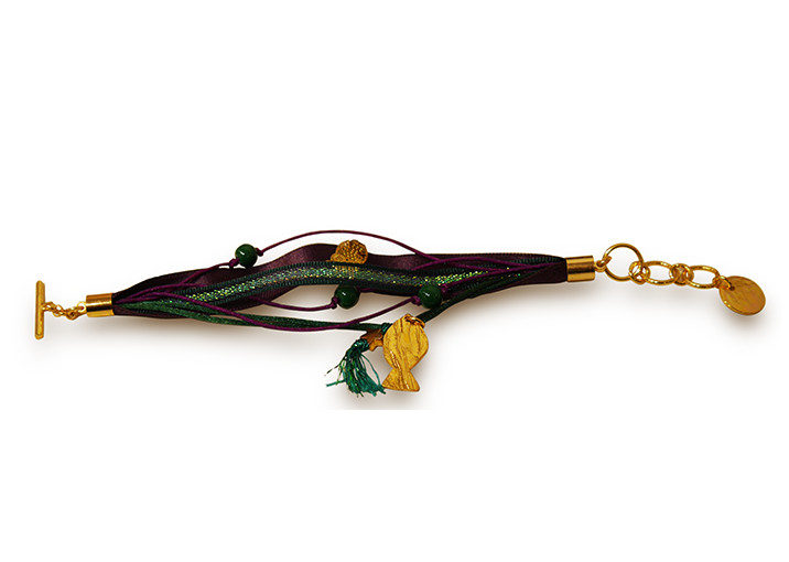 bracelet ruban vert violet poisson dore