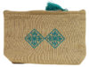 trousse brodee turquoise lin grande