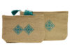 trousse maquillage brodee bleu turquoise lin les 2
