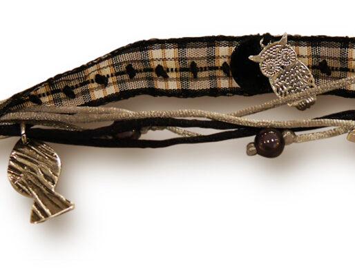 bracelet ruban noir blanc poisson argente zoom