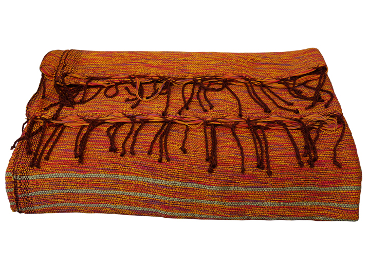 Jete De Canape En Coton Orange Tisse Main Produit Artisanal