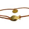 bracelet cordon coton pendentif doré artisanal