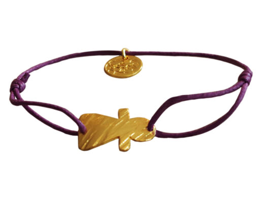 bracelet cordon femme et pendentif doré artisanal