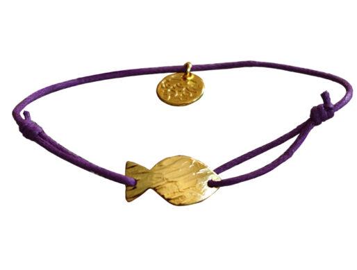 bracelet cordon femme et pendentif doré en coton