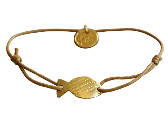 bracelet cordon pendentif doré