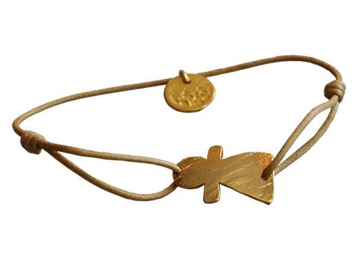 bracelet cordon pendentif doré artisanal