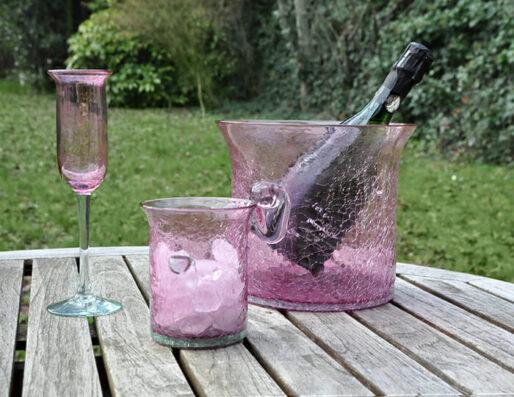 Seaux à glace et à champagne en verre soufflé